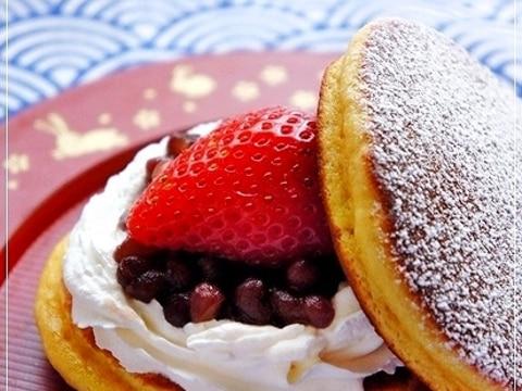 パンケーキミックスで簡単♪ 苺生クリームどら焼き