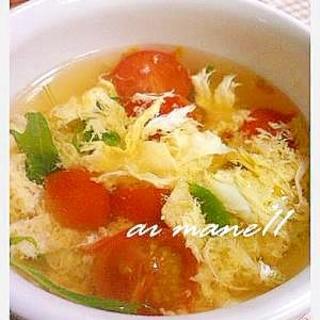 トマトと水菜の卵スープ