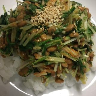 納豆キムチ水菜ごま丼