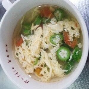 オクラと卵のふわトロ中華スープ♪