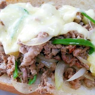 【牛とチーズ 特盛】フィリーチーズステーキサンド