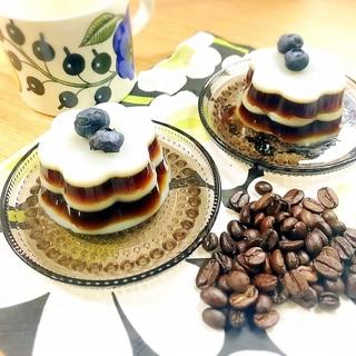 簡単デザート☆可愛いミルフィーユ コーヒーゼリー