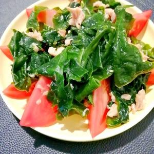 めんつゆで簡単♪ワカメとトマトの海藻ツナサラダ