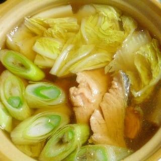 生姜が香る♪土鍋で簡単一人鍋♪鮭と白菜と長ネギの鍋