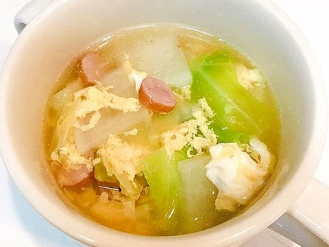 大根とキャベツとウインナーのコンソメ卵スープ