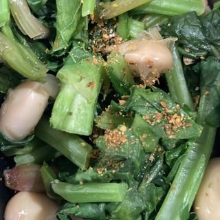 菜花と水煮大豆のピリ辛お浸し