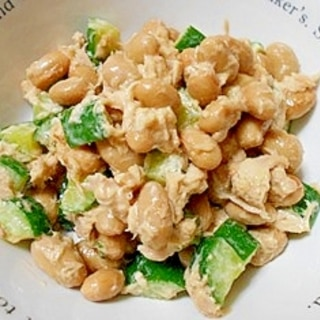 大豆水煮ときゅうりとツナの醤油マヨサラダ