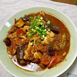今日のおかず☆豚肉とナスとトマトのピリ辛炒め