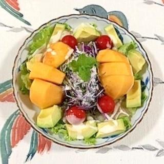 生ハム、紫キャベツ、柿、レタス のサラダ