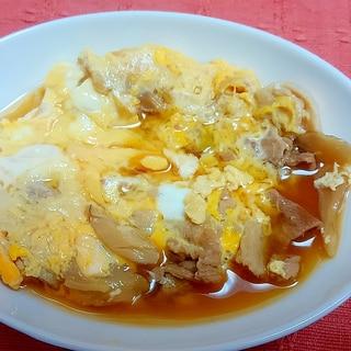 残った肉汁うどんの汁で卵とじ