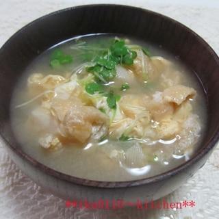 ねぎ油揚げの卵とじお味噌汁