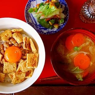 カリカリ揚げの納豆丼