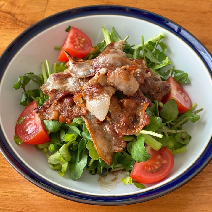 カリカリ豚バラ肉のクレソンサラダ