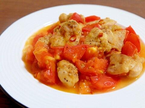 【夏バテメニュー】鶏肉とトマトのにんにく炒め