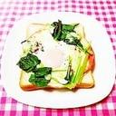 チーズ風味♪小松菜ときのこの巣ごもりハムエッグ
