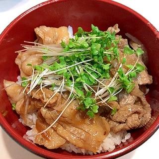 スタミナ抜群☆牛カルビと豚バラ丼