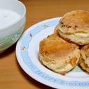 ベーコン入りチーズスコーン+大麦ポタージュ