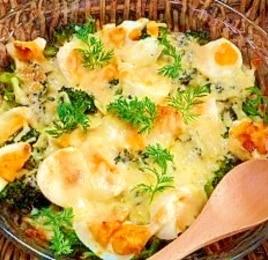 ブロッコリーとゆで卵の味噌マヨチーズ焼き
