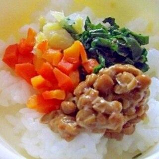離乳食後期◎3色野菜の納豆ごはん