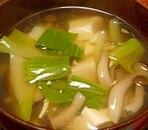 チンゲン菜ときのこの中華スープ