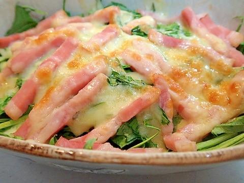 大人用 ❤たっぷり水菜とベーコンのチーズ焼き❤
