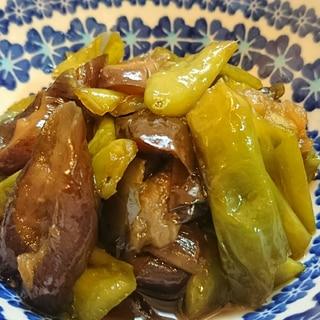 長茄子と甘長とうがらしの甘辛煮
