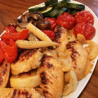 魚焼きグリルで☆タンドリーチキンと夏野菜のグリル