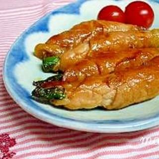 照り焼き味のアスパラ豚巻き。