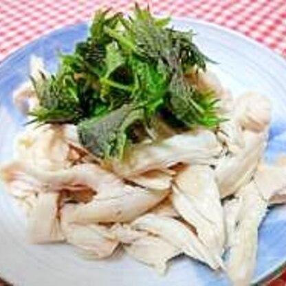 蒸し鶏レシピ♪蒸し鶏と大葉のサラダ