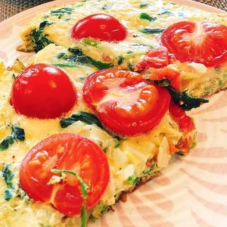 簡単!トマトとほうれん草のスパニッシュオムレツ