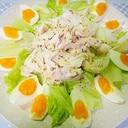 鶏むね肉とゆで卵レタスのサラダ