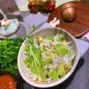 キャベツの芯と蕎麦の実のじゃこサラダ