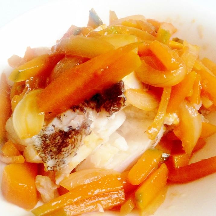 ★白身魚と南瓜と玉ねぎの甘酢あんがけ★