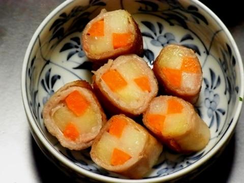 【お弁当おかず】ジャガ人参 市松模様のお肉巻き。