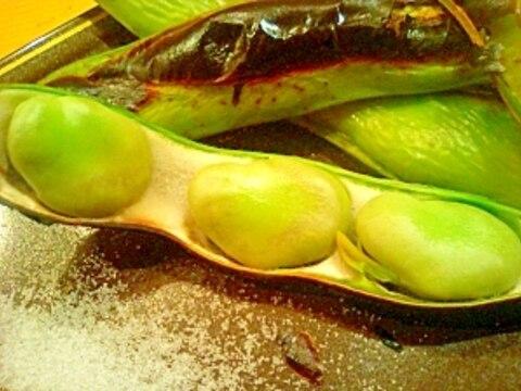 グリルで濃厚な焼きそら豆