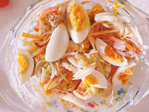 蒸しキャベツと鶏肉のタルタルサラダ