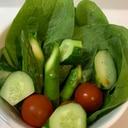 サラダほうれん草とアスパラのサラダ