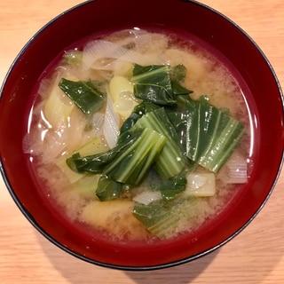 小松菜と長ネギの味噌汁