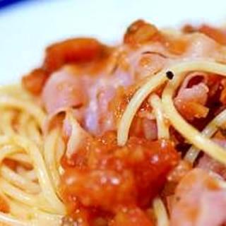 生ハムの温製トマトスパゲッティ
