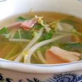 もやしと水菜、ベーコンの和風スープ
