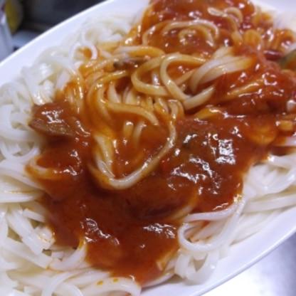 うどん麺で^^ほんととっても簡単なのに味が決まってとっても美味しくできました^-^v