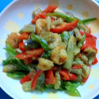 ナスと海老のパプリカの中華煮