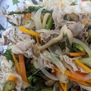 フライパンで♪ 豚肉と野菜ときのこのポン酢醤油蒸し