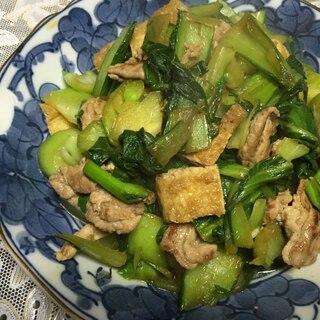 青梗菜と豚肉と油揚げのオイスターソース炒め