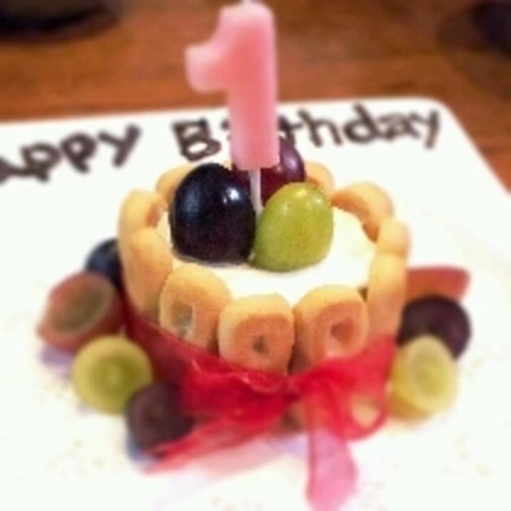1歳のお誕生日ケーキ♡食パンとヨーグルトで簡単!