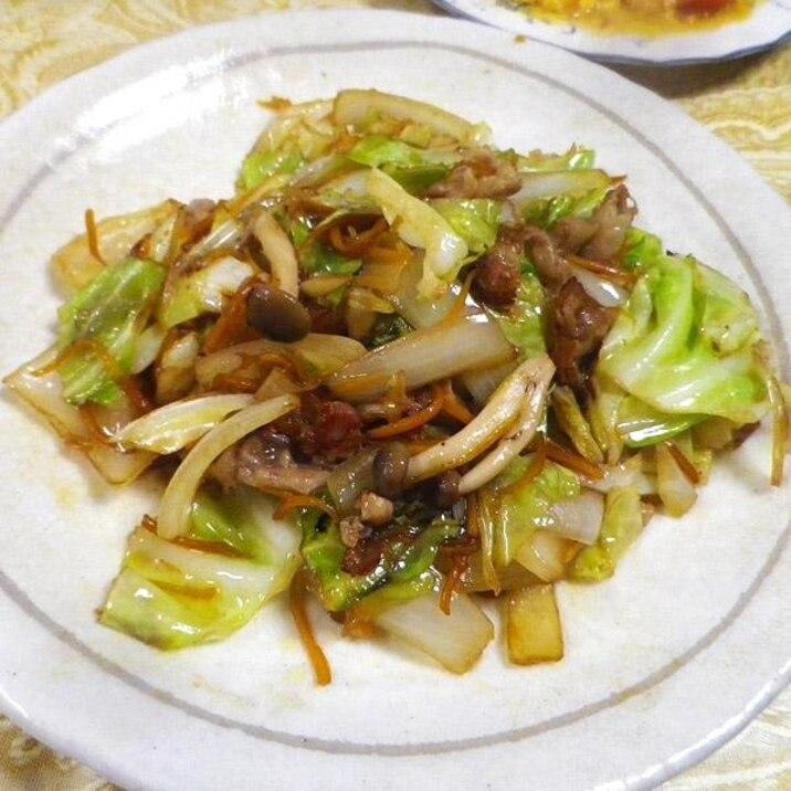 キャベツ人参の生姜焼き肉炒め
