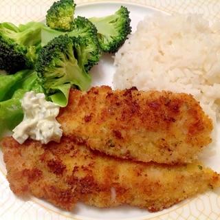 白身魚のバジルパン粉焼き