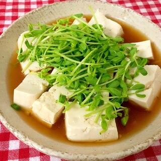 レンジで簡単!豆苗の湯豆腐☆
