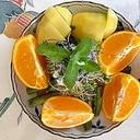 ルッコラ、キウイ、オレンジのサラダ