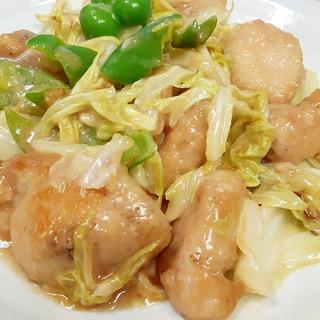 簡単!鶏むね肉+キャベツ+ピーマンのオイマヨ炒め♪